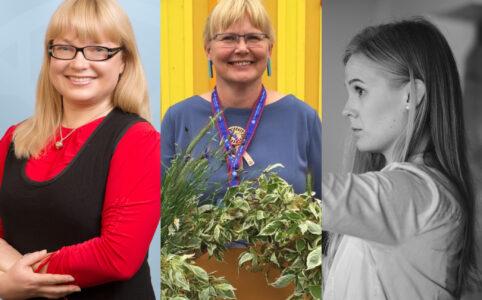 Ernesaksa fondi laureaadid 2020: Kaie Tanner, Aet Maatee, Ode Pürg, fotod Kirill Gvozdev, Aive Aus-Hagag, Mattias Kitsing